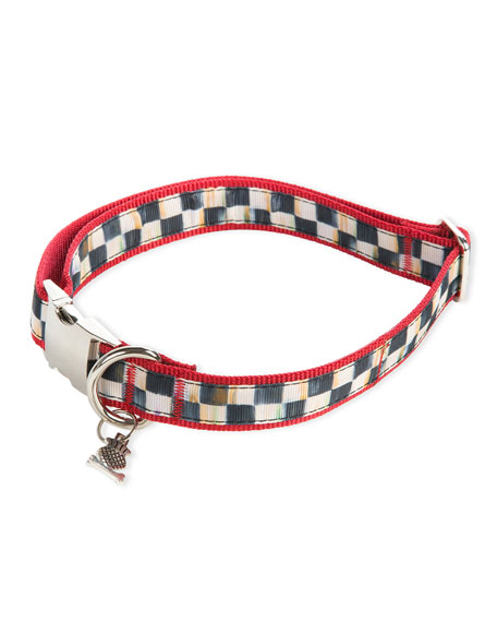 Large Courtly Check Couture Red Dog Collar