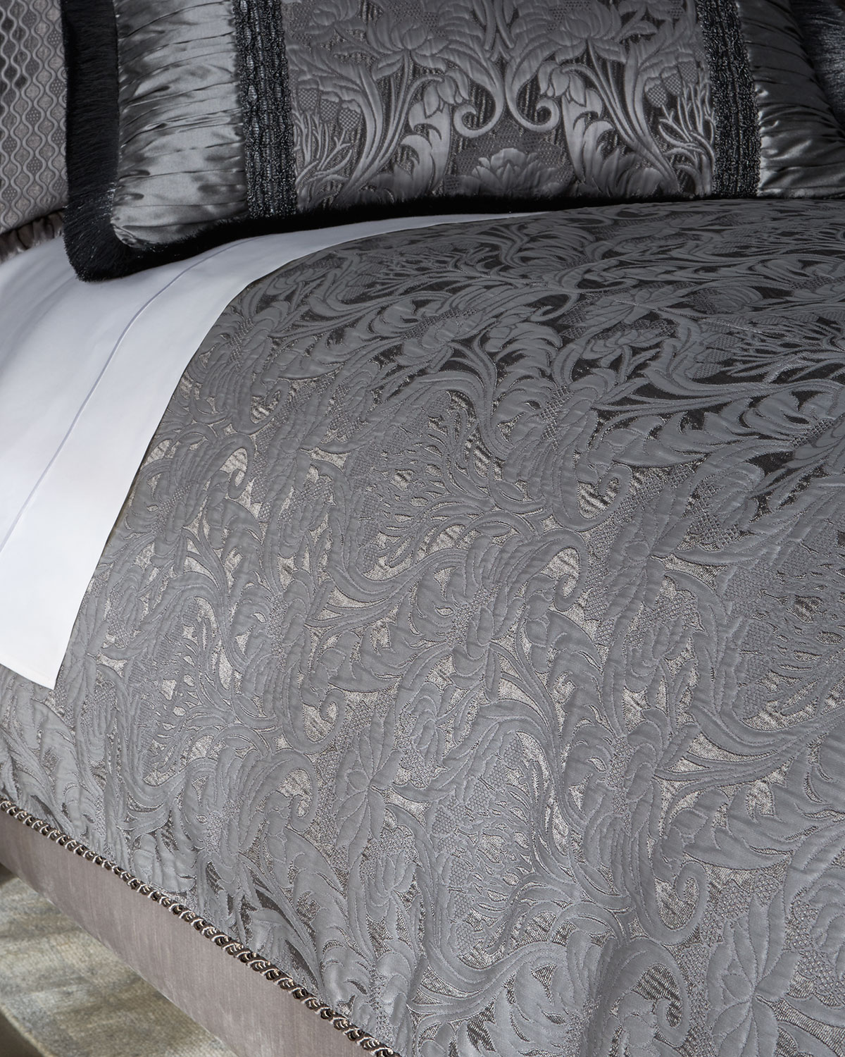 Queen Aviana Damask Plisse Duvet Cover