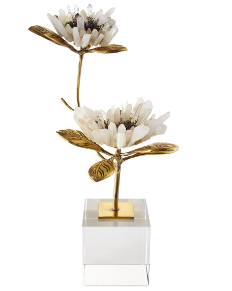 John-Richard Collection Crystal Bloom Floral Sculptures