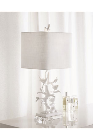 Couture Lamps White Bird-on-Branch Lamp