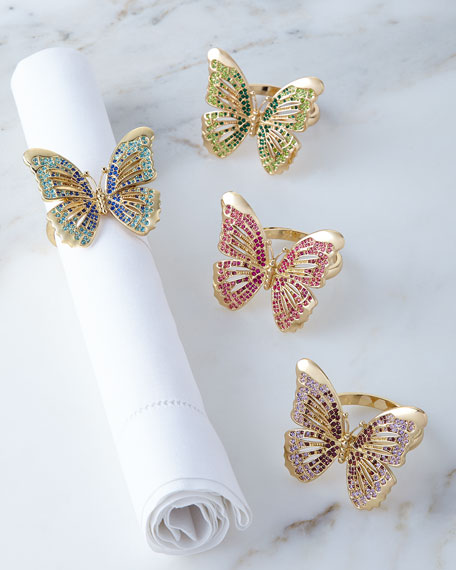 L'Objet Butterfly Napkin Rings, 4-Piece Set