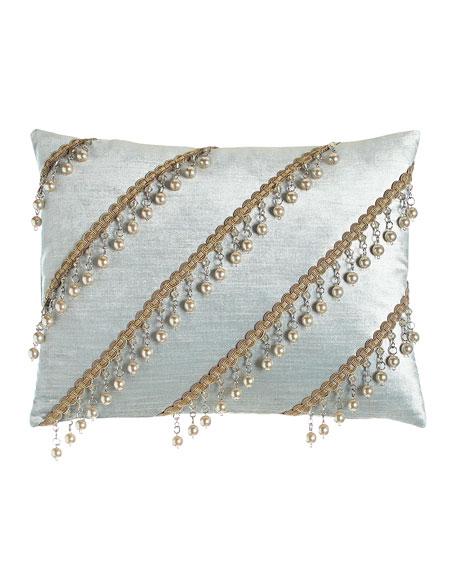 Aero Velvet Pillow with Bead Trim, 12