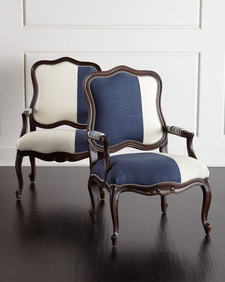 Massoud Madison & Michael Colorblock Bergere Chairs