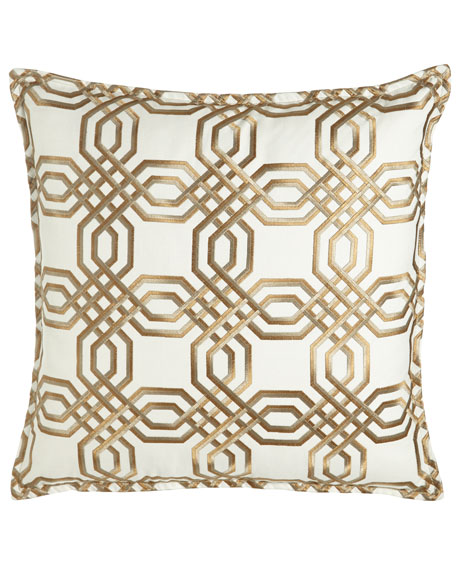"Braedon Embroidered Pillow, 19""Sq."