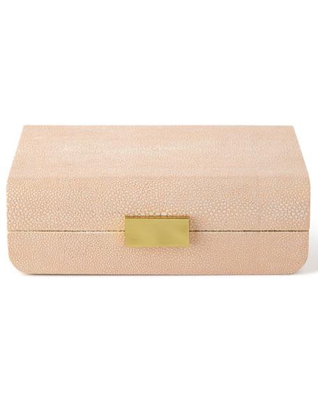Small Blush Modern Shagreen Decorative Box