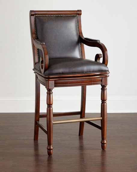 Mary Bryan Leather Barstool