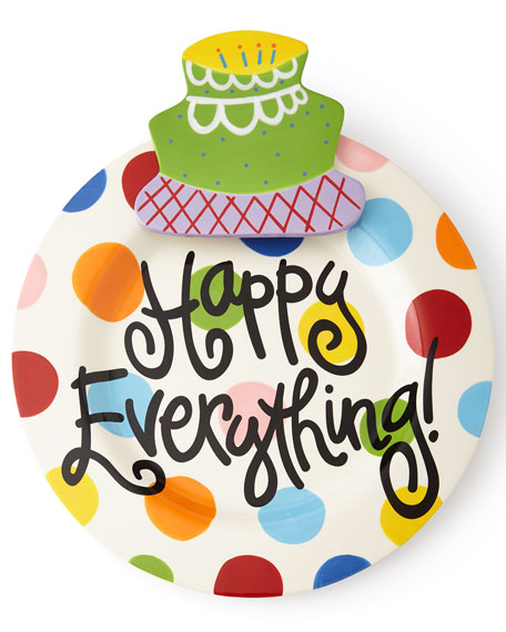 Happy Everything Bright-Dot Big Platter with Birthday Cake Attachment
