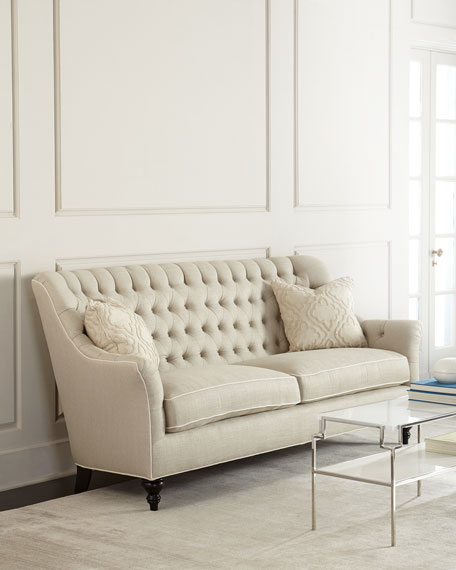 Jazmine Tufted-Linen Sofa