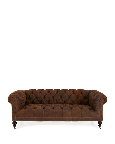 """Morgan Rustic-Suede Chesterfield Sofa 86"""""""