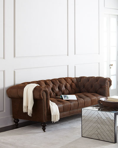 Morgan Rustic-Suede Chesterfield Sofa