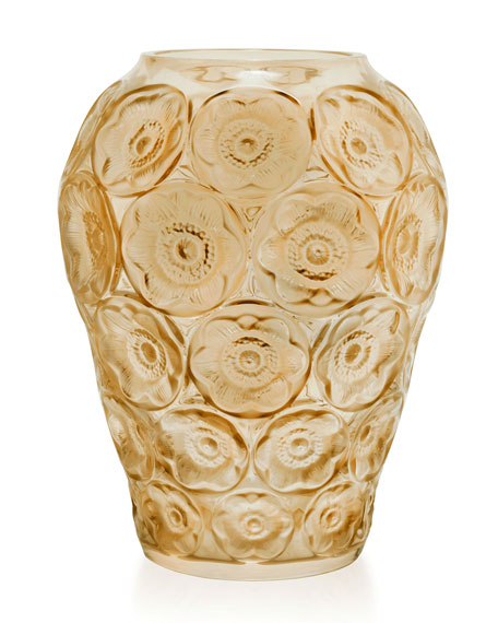 Lalique Gold-Luster Anemones Medium Vase