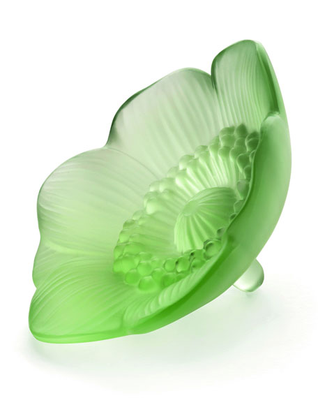 Lalique Green Anemone Sculpture