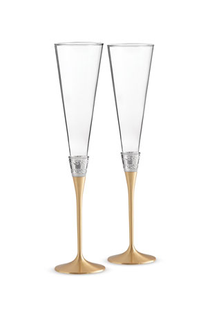 Vera Wang Golden With Love Toasting Flutes, Set of 2