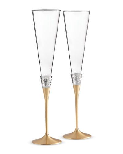 Golden With Love Toasting Flutes  Set of 2