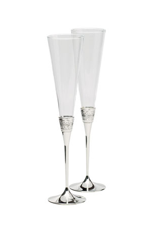 Vera Wang Silver With Love Toasting Flutes, Set of 2