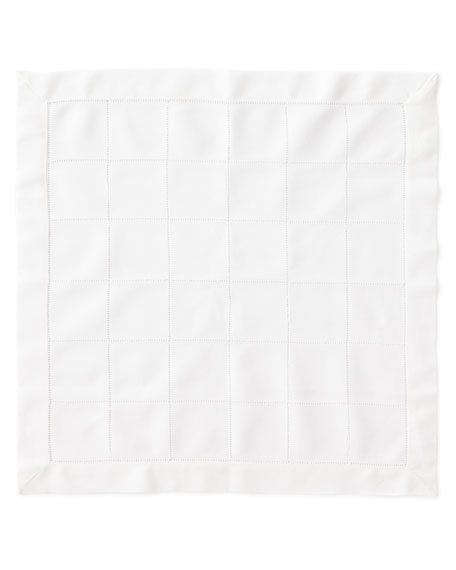 Block Hemstitch Dinner Napkins, Set of 4