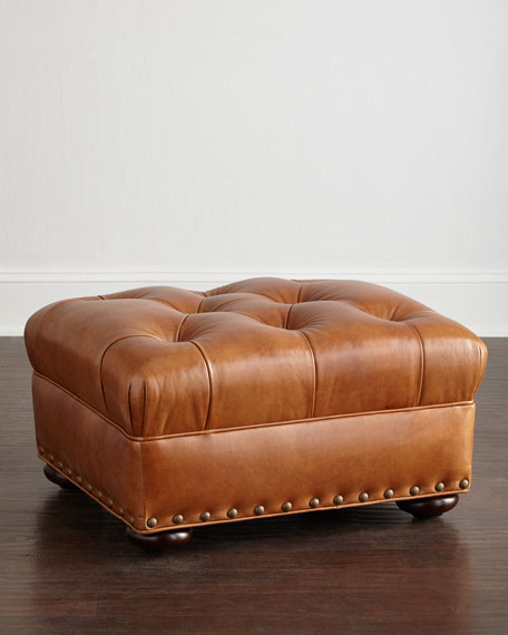 Lansbury Tufted-Leather Chair & Ottoman