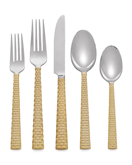 5-Piece Palm Golden Flatware Place Setting