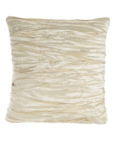 "Charlotte Ruched Silk Pillow, 18""Sq."