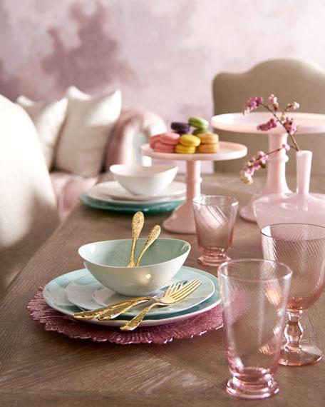 12-Piece Pink Brushstroke Dinnerware Service