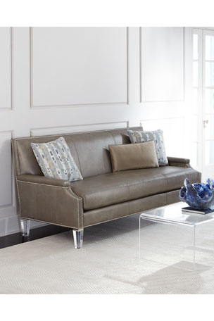 "Massoud Lucine Leather Sofa 82"""