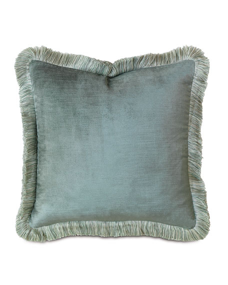Eastern Accents Central Park Fringed Velvet Pillow, 18