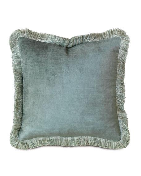 """Central Park Fringed Velvet Pillow, 18""""Sq."""