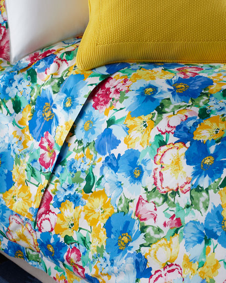 Queen 300TC Ashlyn Floral Flat Sheet