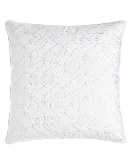 """Scroll Embroidered Pillow, 20""""Sq."""