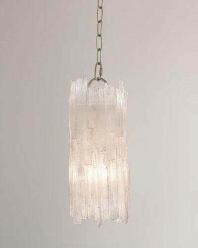 Natural Selenite-Shaded 1-Light Pendant