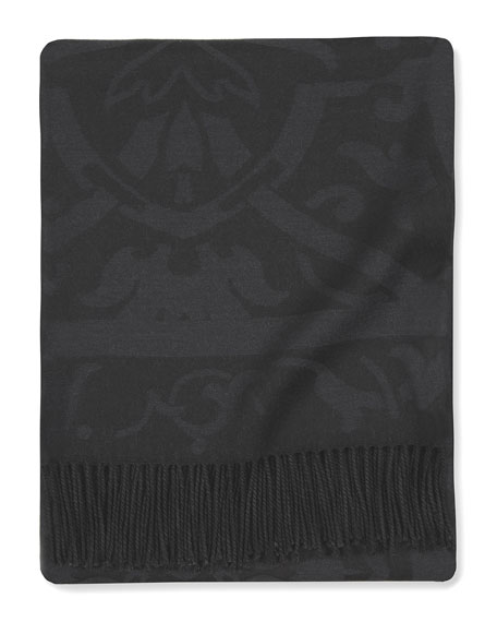 SFERRA Black Damask Throw, 50