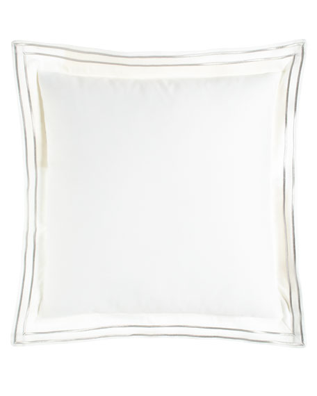 "Lara Pillow with Embroidered Flange, 18""Sq."