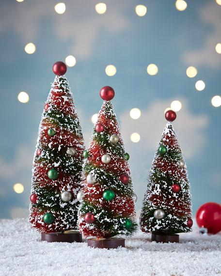 Primitive Christmas Bottle Brush Trees 3 Piece Set