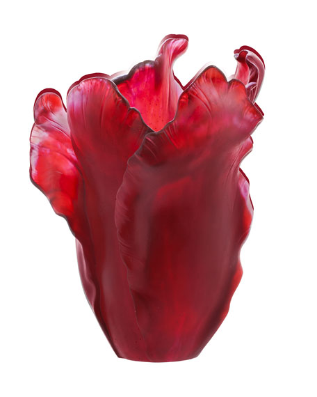 Daum Red Tulip Vase