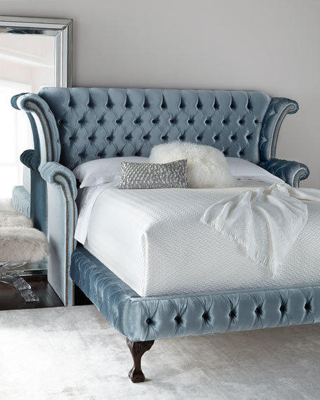 Haute House Carter Teal Tufted Bed & Matching