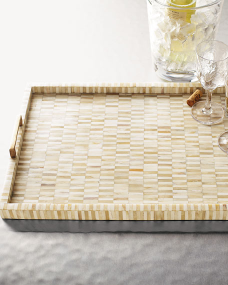 Bone Tray with Brass Handles