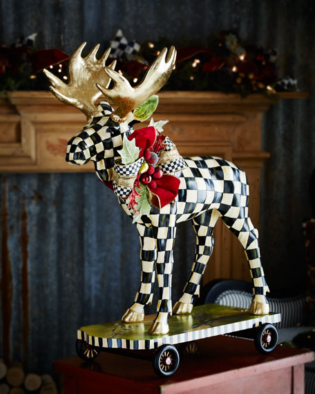 Mackenzie Childs Courtly Check Moose On Parade Figure
