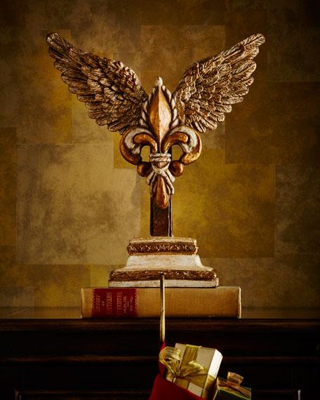 ANGELICA DESIGNS Winged Grandeur Fleur-de-Lis Christmas Stocking