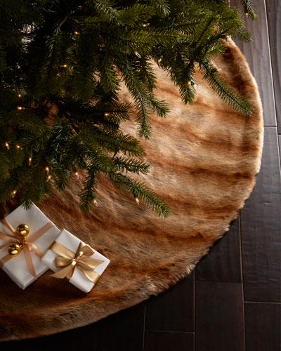 Faux-Fur Fox Christmas Tree Skirt