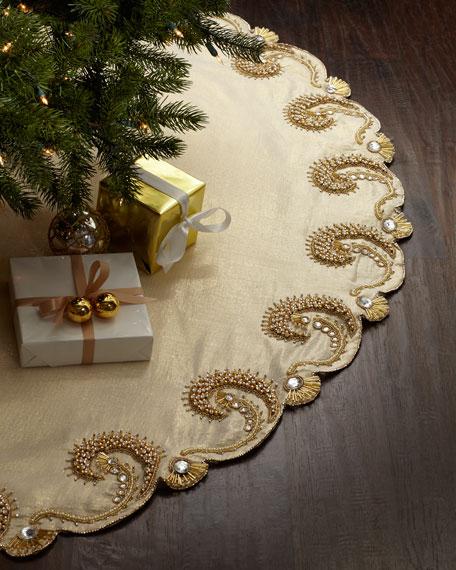 Kim Seybert Champagne Scroll Christmas Tree Skirt