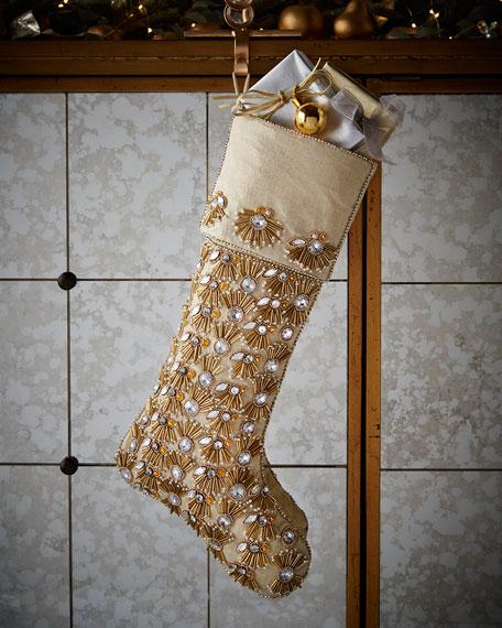 kim seybert champagne pearl fringe christmas stocking neiman marcus - Gold Christmas Stocking