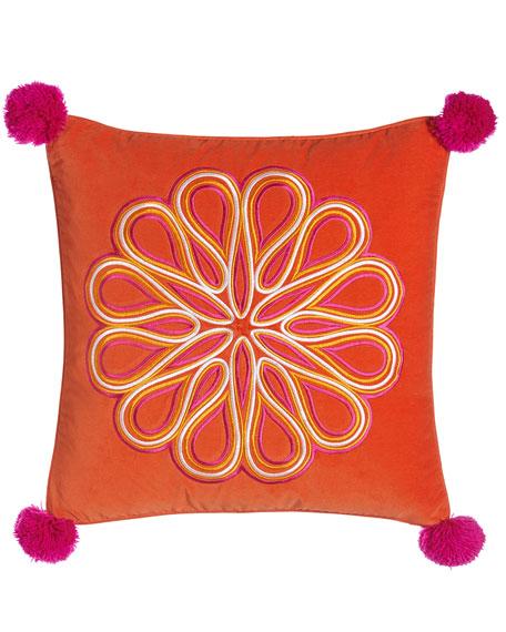 Caribbean Orange Scroll Medallion Pillow