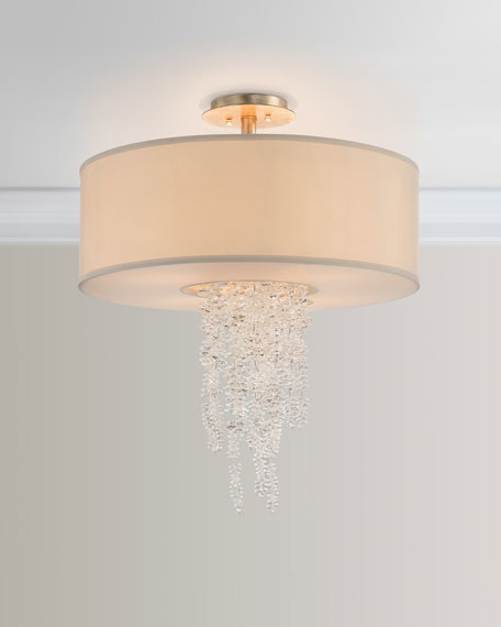 Cascading Crystal Waterfall 6-Light Semi-Flush Mount Ceiling Light
