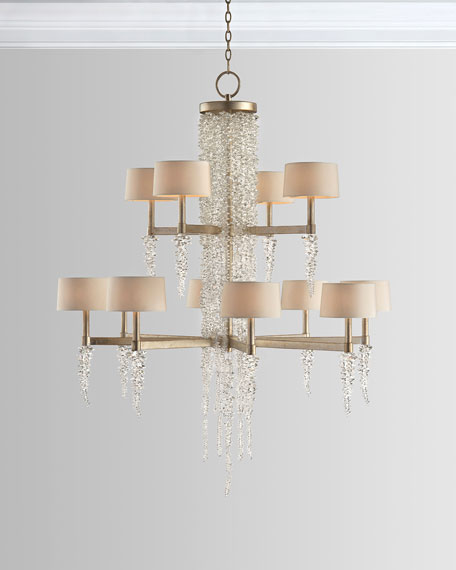 Cascading Crystal Waterfall 12-Light Chandelier