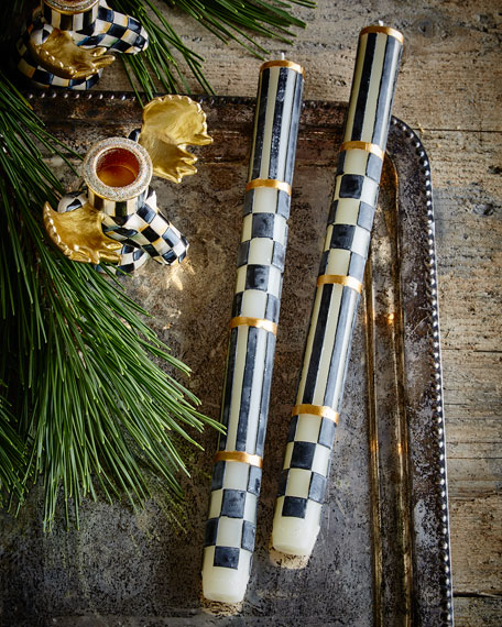 Check & Stripe Taper Candles, Set of 2
