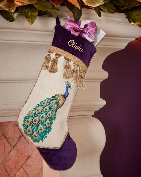 Peking Handicraft Right-Facing Peacock Needlepoint Christmas Stocking