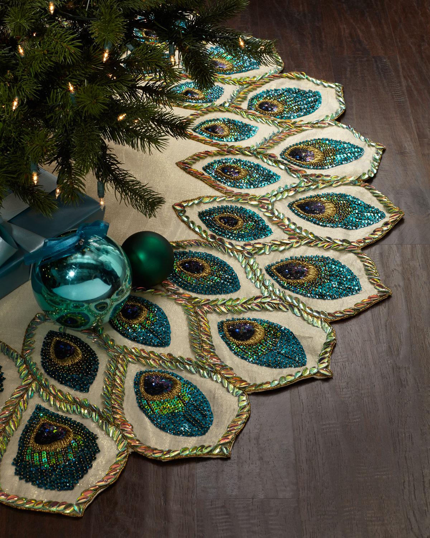 Kim Seybert Peacock Christmas Tree Skirt Neiman Marcus