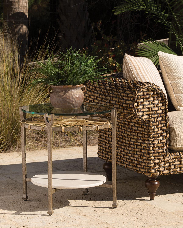 Hemingway outdoor round accent table neiman marcus