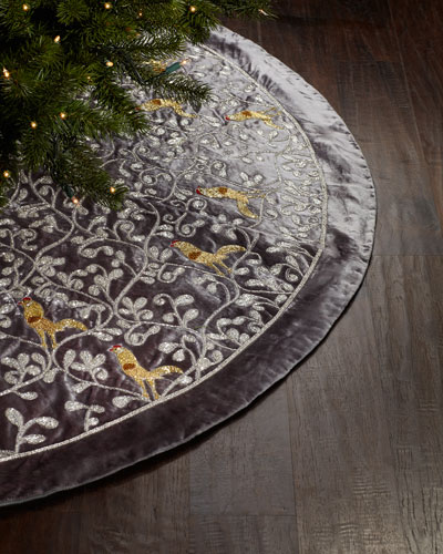 silver christmas tree skirt with partridge motif - Silver Christmas Tree Skirt