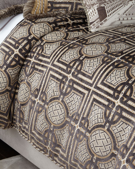 Queen Argent Geometric Duvet Cover